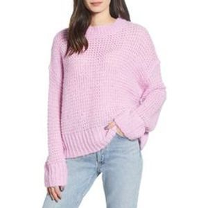 Chelsea28 Open Knit Crew Neck Pullover Sweater SM